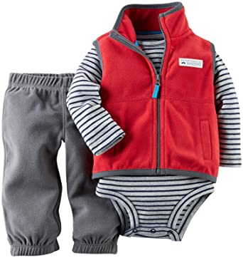 Carters Baby Boys 3 Piece Fleece Vest Set (Baby) - Red - 18