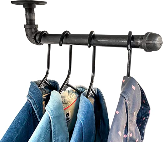 DIY CARTEL Industrial Pipe Wall Mount Clothing & Garment Rack Hardware ONLY - 2 Pack - Perfect for Retail Display, Organizing, Laundry (12-inch ...