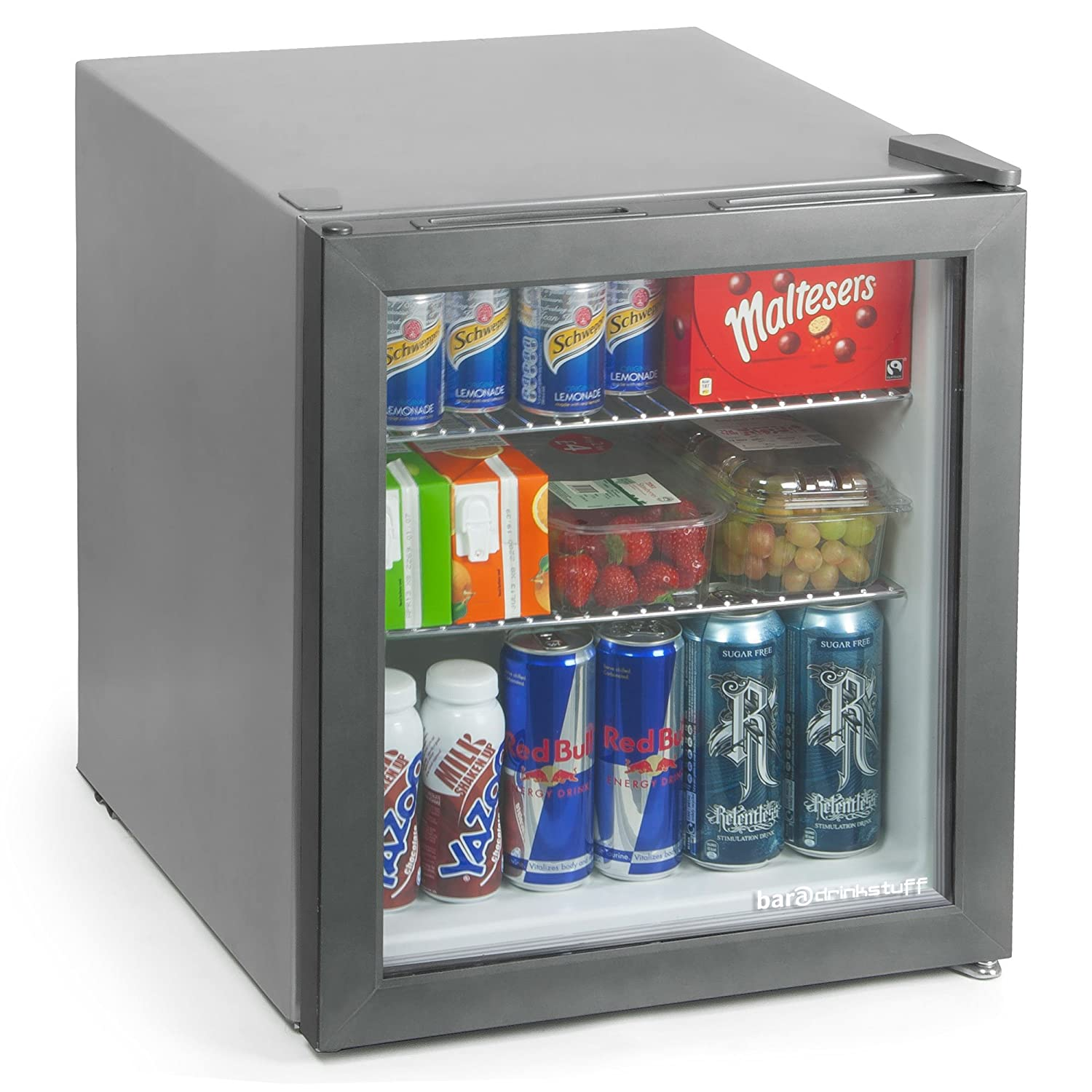 bar@drinkstuff Frostbite Mini Fridge Silver - 49ltr Compact Refrigerator Holds 45 x 330ml Cans| A+ Energy Rating