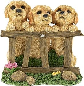 CLEVER GARDEN Cute Resin Garden Statue Decoration, Outdoor Lawn Yard Polyresin Animal Figurine Sculpture Ornament Décor, Puppy Family