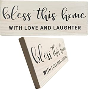 Let the Fun Begin Bless Rustic Wood Signs with Sayings, Housewarming Gift for New Home, Farmhouse Decor Gifts for Friends and Family, Wooden Signs with Quotes (Bless No Year White)