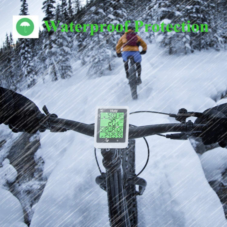 Ordinateur de V/élo de Route Etanche avec Temps de Voyage//Distance pour Le Cyclisme Vkaiy Compteur Kilometrique de V/élo sans Fil