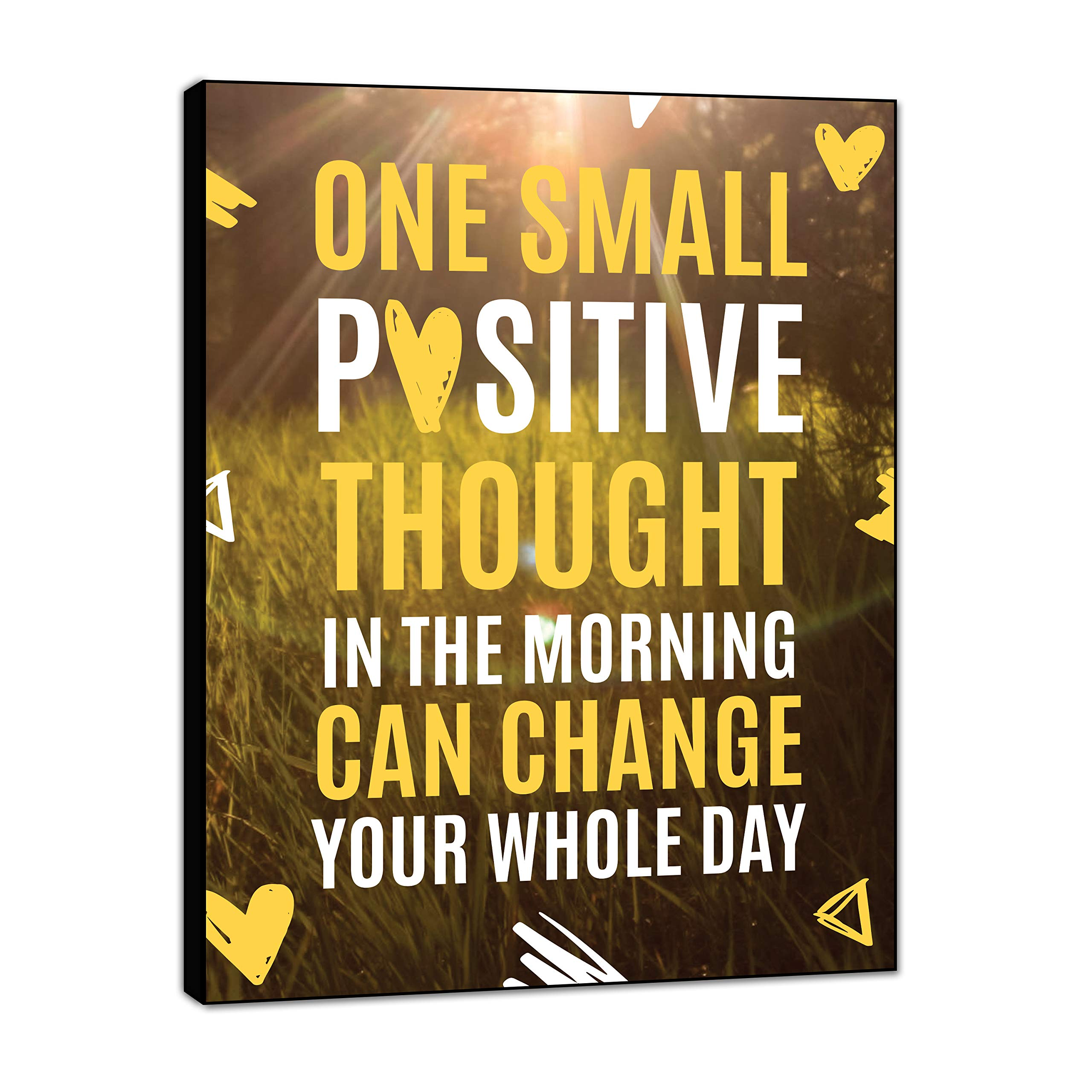 LACOFFIO Inspirational Wall Art Decor One Small Positive Thought 9''x12'' Motivational Wall Art Quotes Wood Sign Perfect for Office Spaces No-Chip No Warp by LACOFFIO