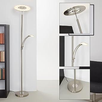 Briloner Leuchten LED Stehlampe Mit Leselampe, Leuchtenkopf Dimm  U0026  Schwenkbar, Moderne Wohnzimmerlampe,
