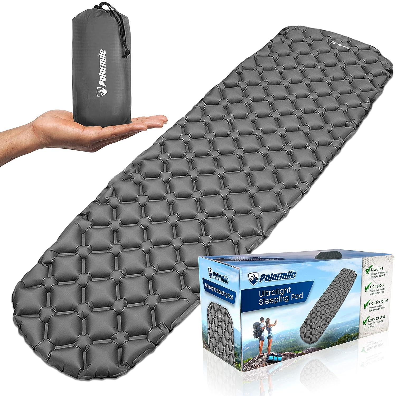Polarmile Ultralight Sleeping Pad – Durable, Inflatable & Ultra-Compact – Best Sleeping Pads for Backpacking, Camping, Travel, Hiking – Lightweight Camp Sleep Pad Mat Air Mattress 14.4 OZ [並行輸入品] B07R4WLCYN