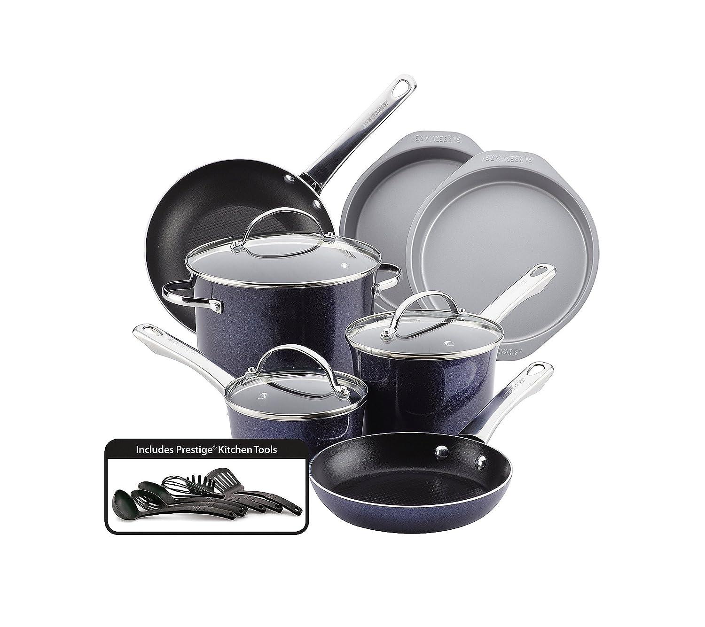 Farberware Luminescence Aluminum Nonstick Cookware Set, 16-Piece, Sapphire Shimmer 11857