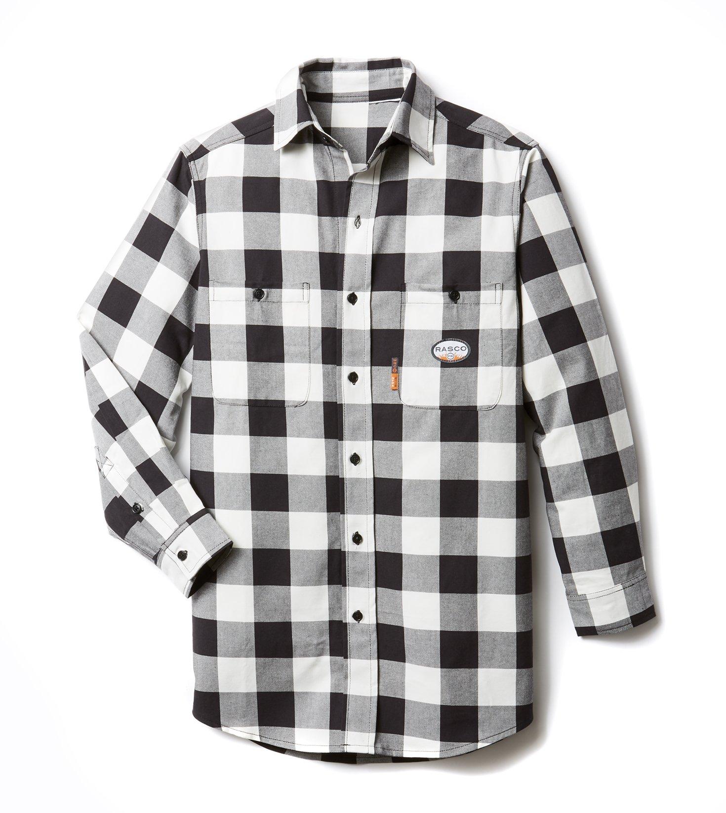 Rasco FR Dress Shirts - Black/White Plaid (Medium-reg)