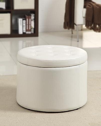 Convenience Concepts Designs4Comfort Round Shoe Ottoman, Ivory