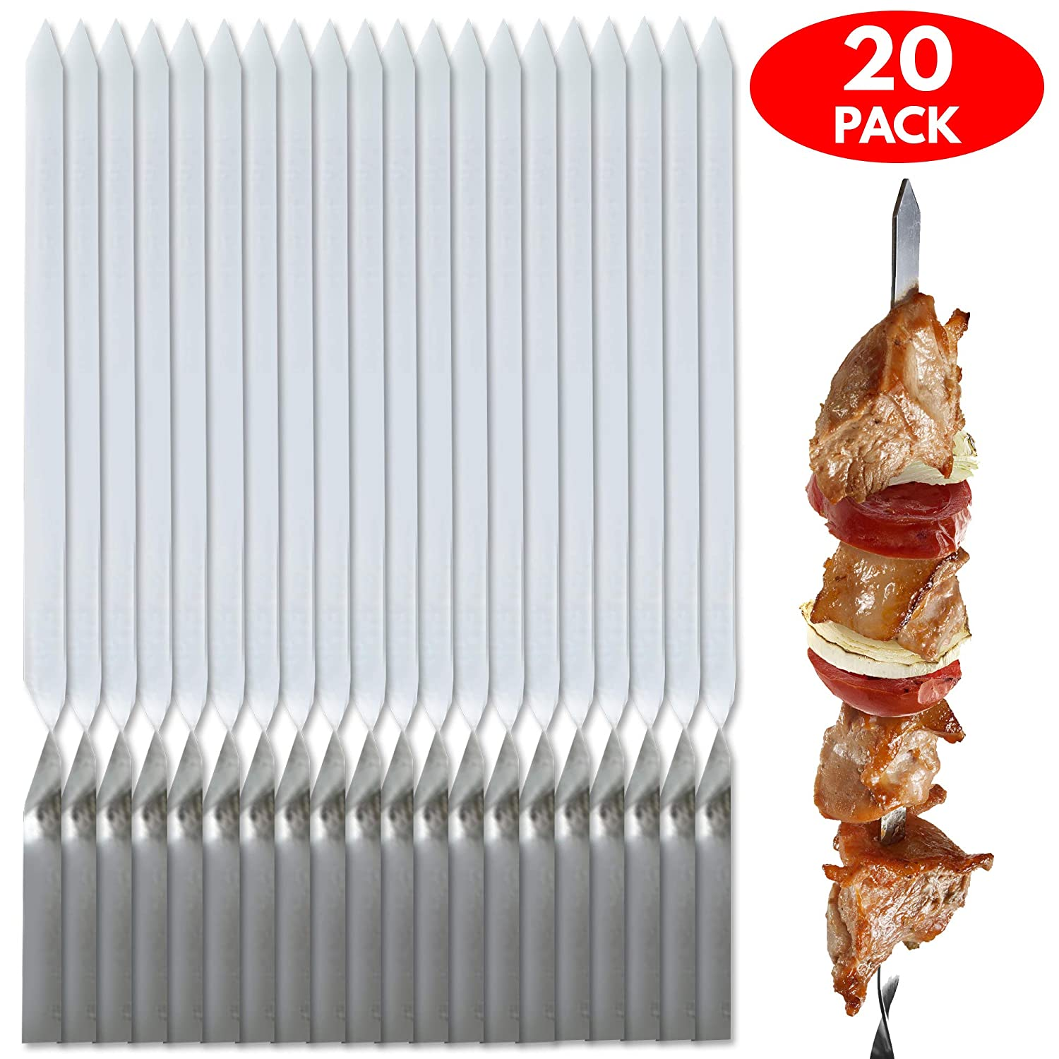 BRAMBLE! 20 Skewers, Stainless Steel Metal Kebab Sticks - Perfect for BBQ's and Grilling - Includes Handy Storage Poly Bag