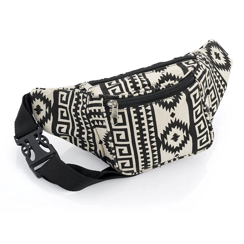 Black and Beige Abstract Design Waist Bag Fanny Pack Money Bum Bag Hip Belt