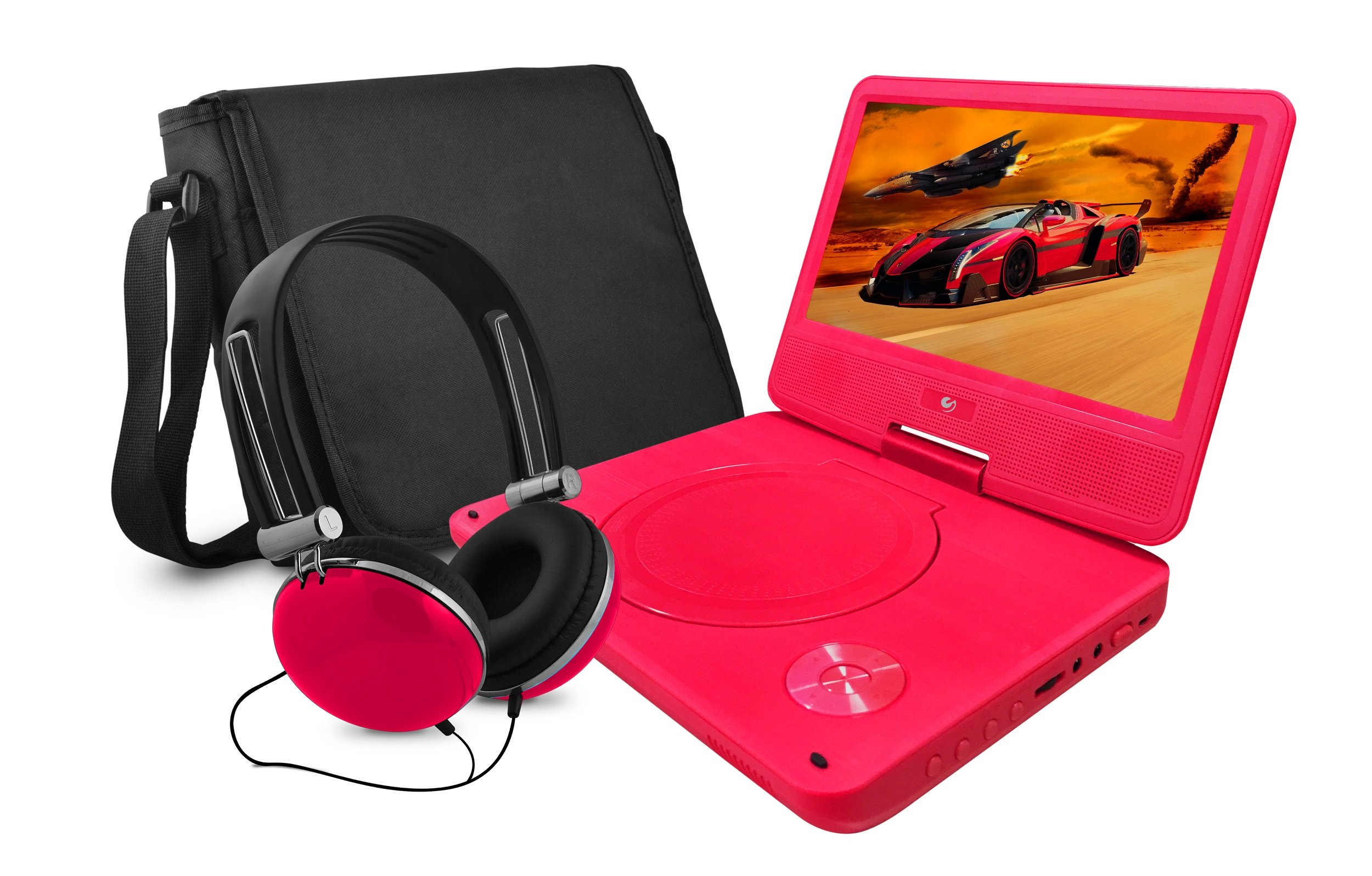 Ematic EPD929RD Portable DVD Player with 9-Inch Swivel Screen, Micro USB Cord, Headphones and Travel Bag, Red