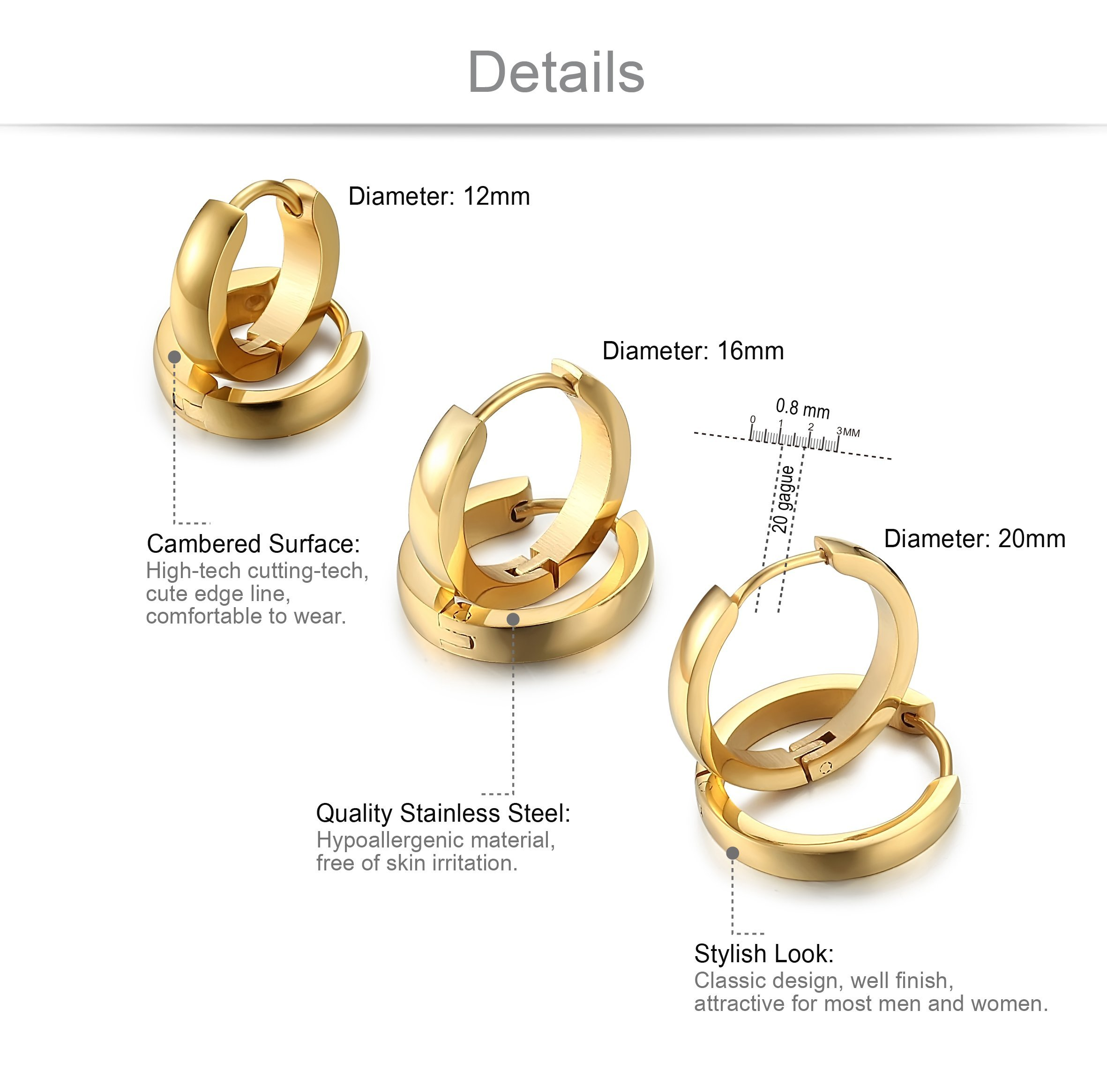 Jstyle Stainless Steel Mens Womens Hoop Earrings Huggie Ear Piercings G by Jstyle (Image #2)