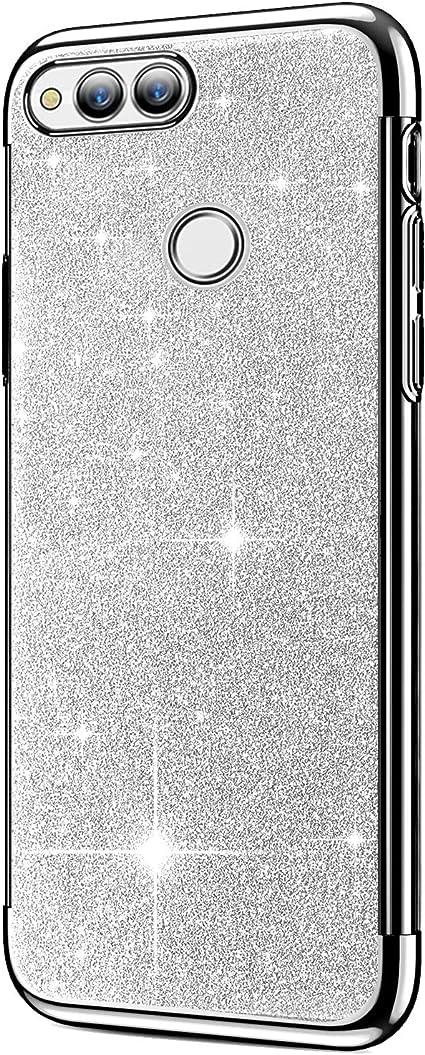 Coque Huawei Honor 7X,Surakey Brillant Diamant Glitter Paillettes TPU Silicone Transparent Souple Housse Etui Coque Chrome Placage Bumper Téléphone ...