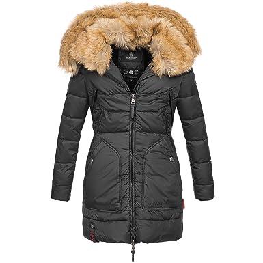 Marikoo Knuddelmaus Damen Winter Mantel Jacke Steppjacke Winterjacke  Wintermantel warm gefüttert 2in1 Kunstfell XS-XXL  Amazon.de  Bekleidung 54d1d2c06d