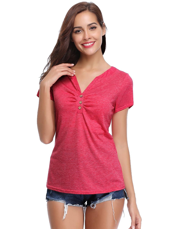 Abollria T-Shirt para Mujer Camisetas Deportivo y Casual Tops Cuello-V