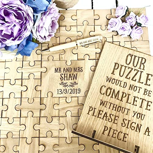 wedding guest book wooden jigsaw puzzle personalised with sign stand alternative to letter guestbook or