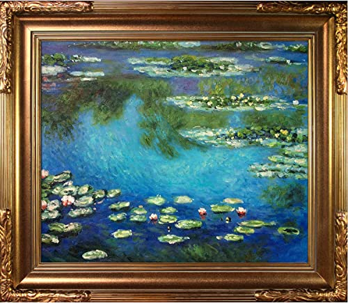 overstockArt Monet Water Lilies Painting with Florentine Gold Finish Frame