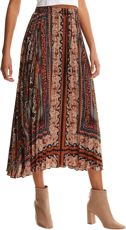 Floerns Women's Boho Elastic Waist Scarf Print Pleated Midi Skirt