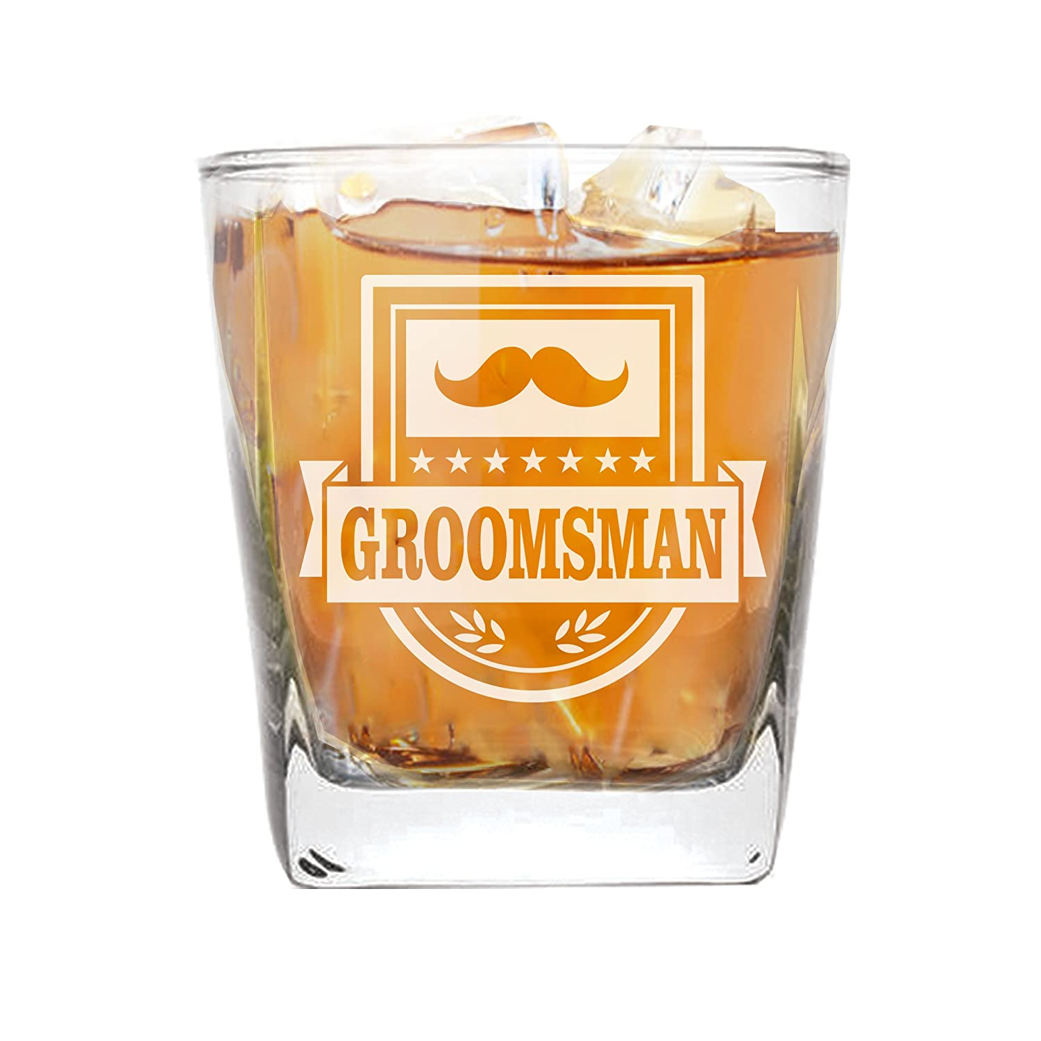 Whiskey Rocks Glasses for Bachelor Party, Weddings, Wedding Favors, Whisky Gifts (Badge Style 9oz, Best Man Glass) My Personal Memories MPM0355F
