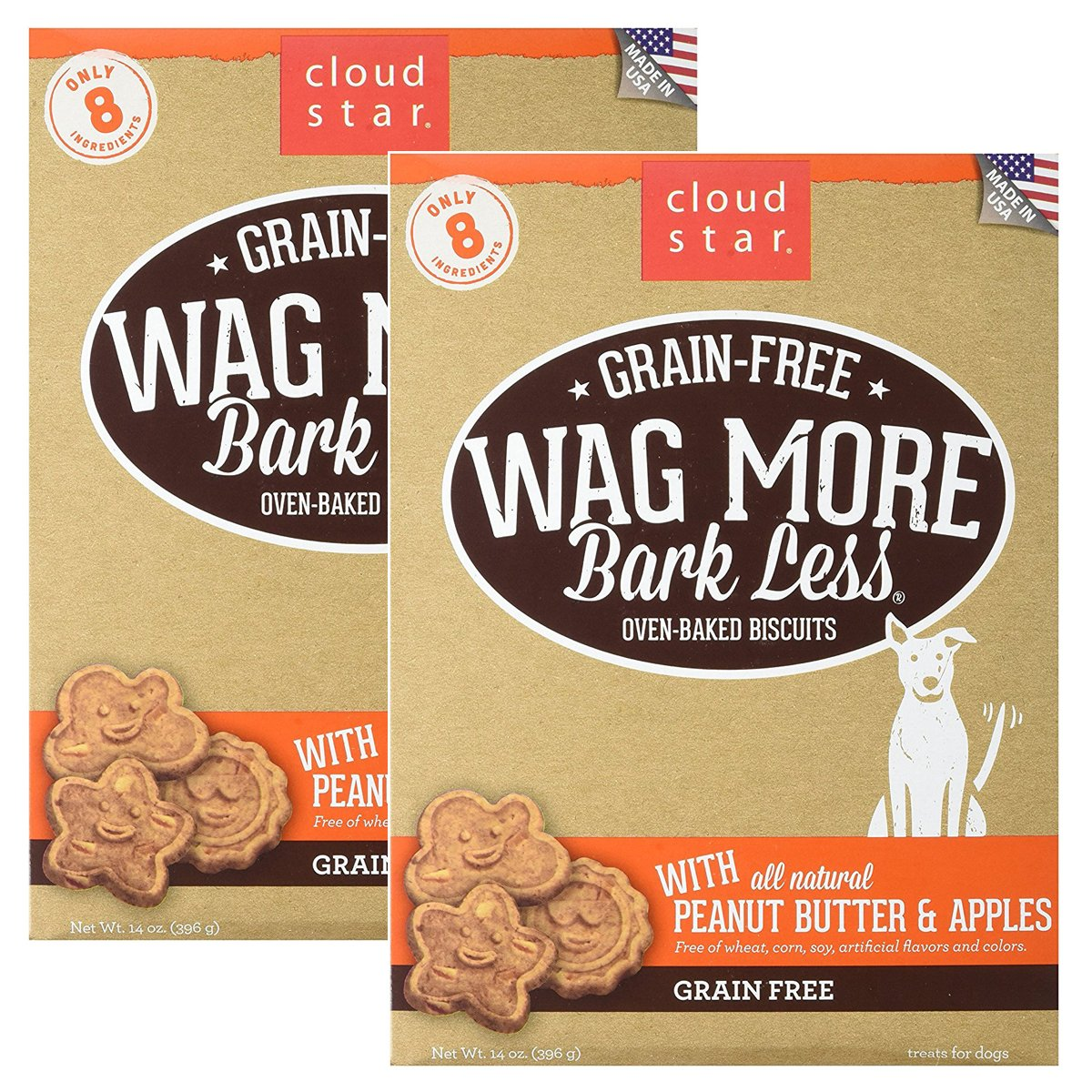 Cloud Star Wag More Oven Baked Grain Free Biscuits - 28 ounce Peanut Butter, Apples