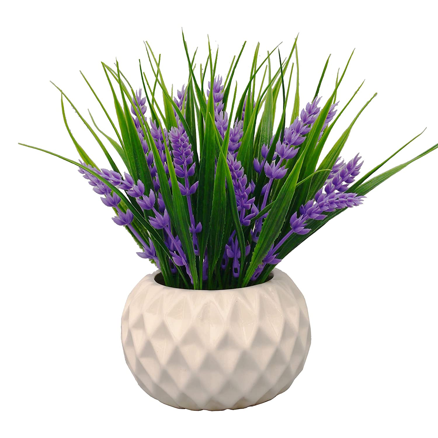 VGIA Modern Artificial Potted Plant for Home Decor Lavender Flowers and Grass Arrangements Tabletop Decoration
