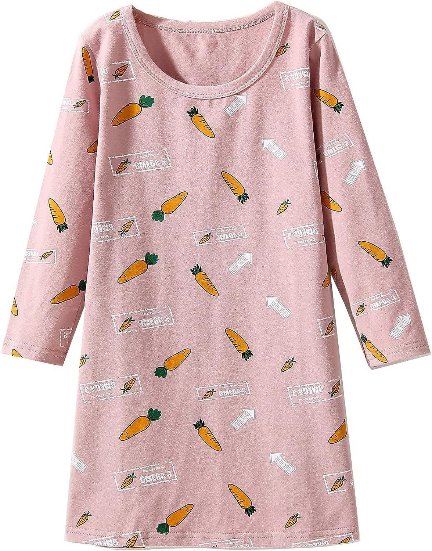 3-16 anni a maniche lunghe Nighties in cotone Camicia da notte da bambina morbido con colletto rotondo