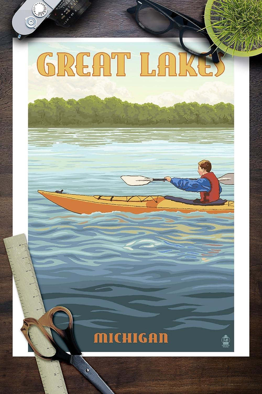 Lantern Press Great Lakes 12x18 Aluminum Wall Sign, Wall Decor Ready to Hang Michigan Kayak Scene