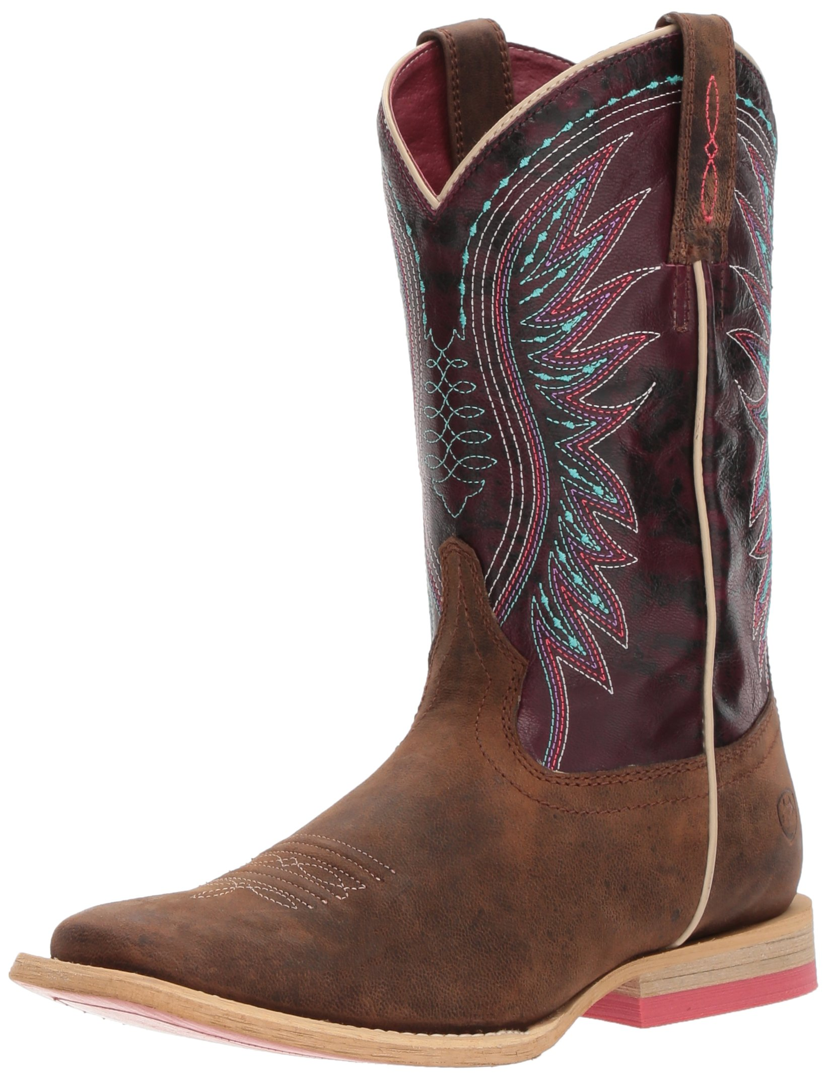 Kids' Vaquera Western Boot, Weathered Brown/Sunset Purple, 12.5 M US Little Kid