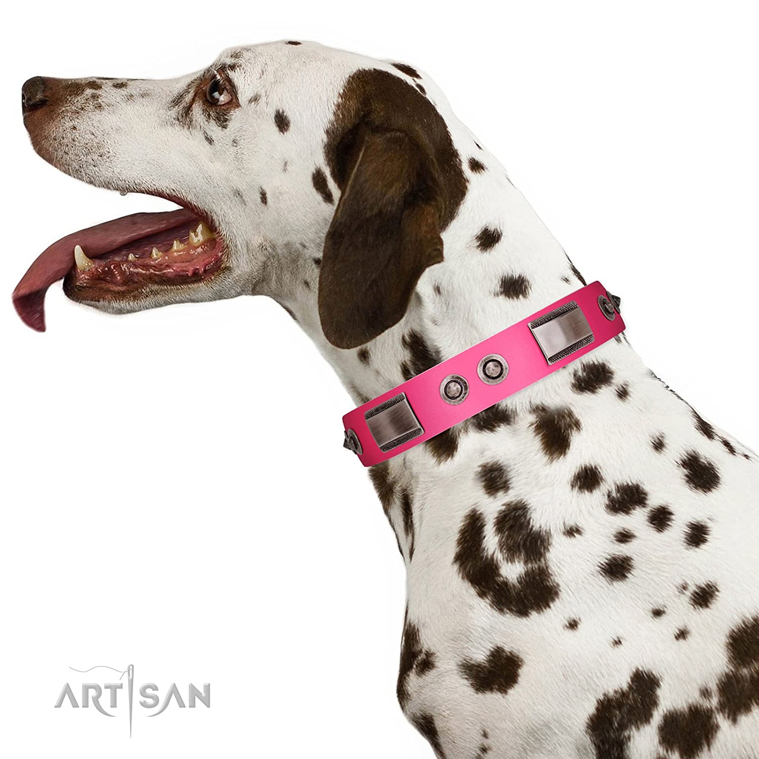 Fits for 30 inch (75cm) dog's neck size 30 inch FDT Artisan Lady's Whim Pink Leather Dog Collar with Plates and Spiked Studs