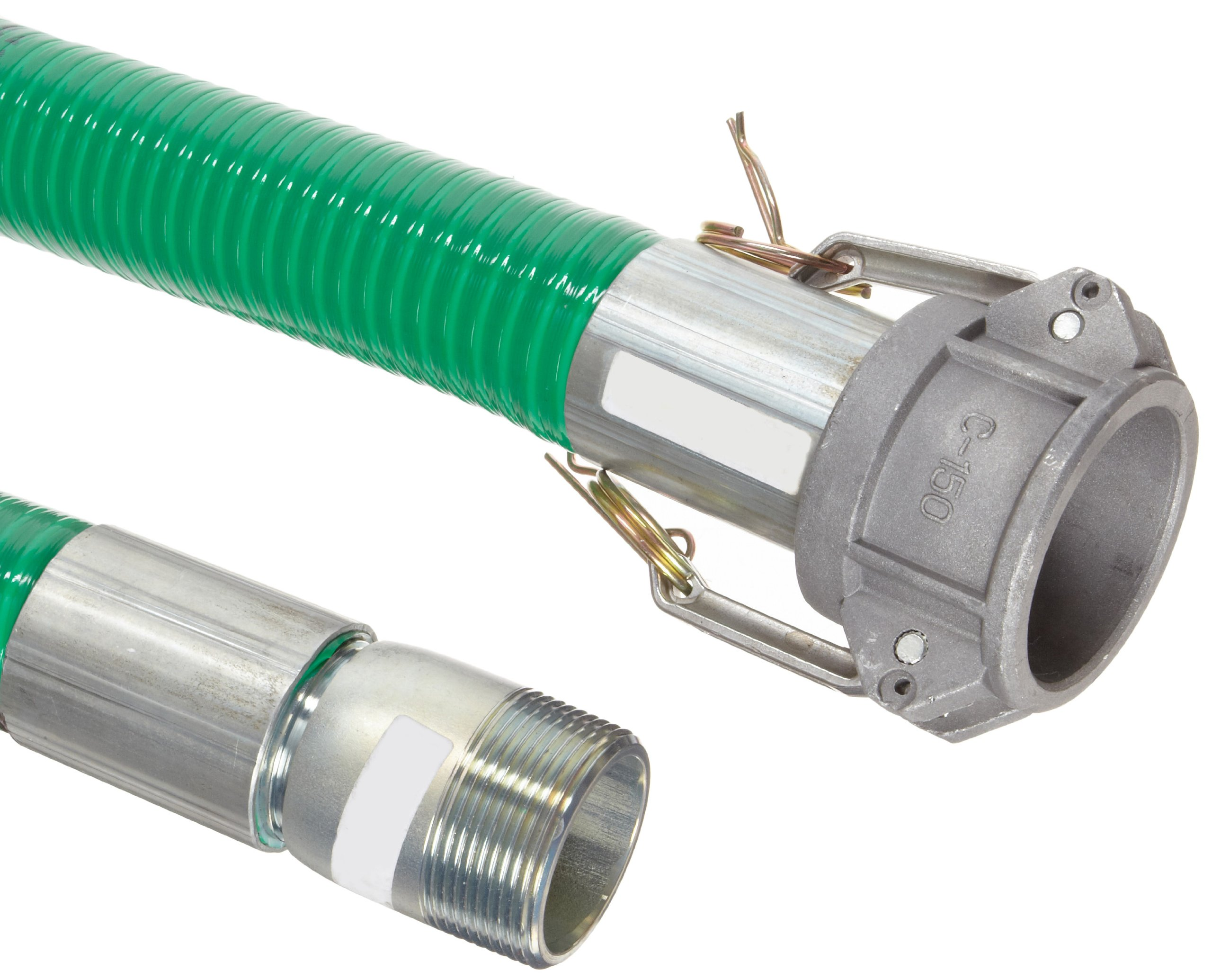 Goodyear EP Spiraflex Aggie Green PVC Suction/Discharge Hose Assembly, 1-1/2'' Aluminum Cam And Groove Female x NPT Male Connection, 29mmHg Vacuum Rating 89 PSI Maximum Pressure, 20' Length, 1-1/2'' ID