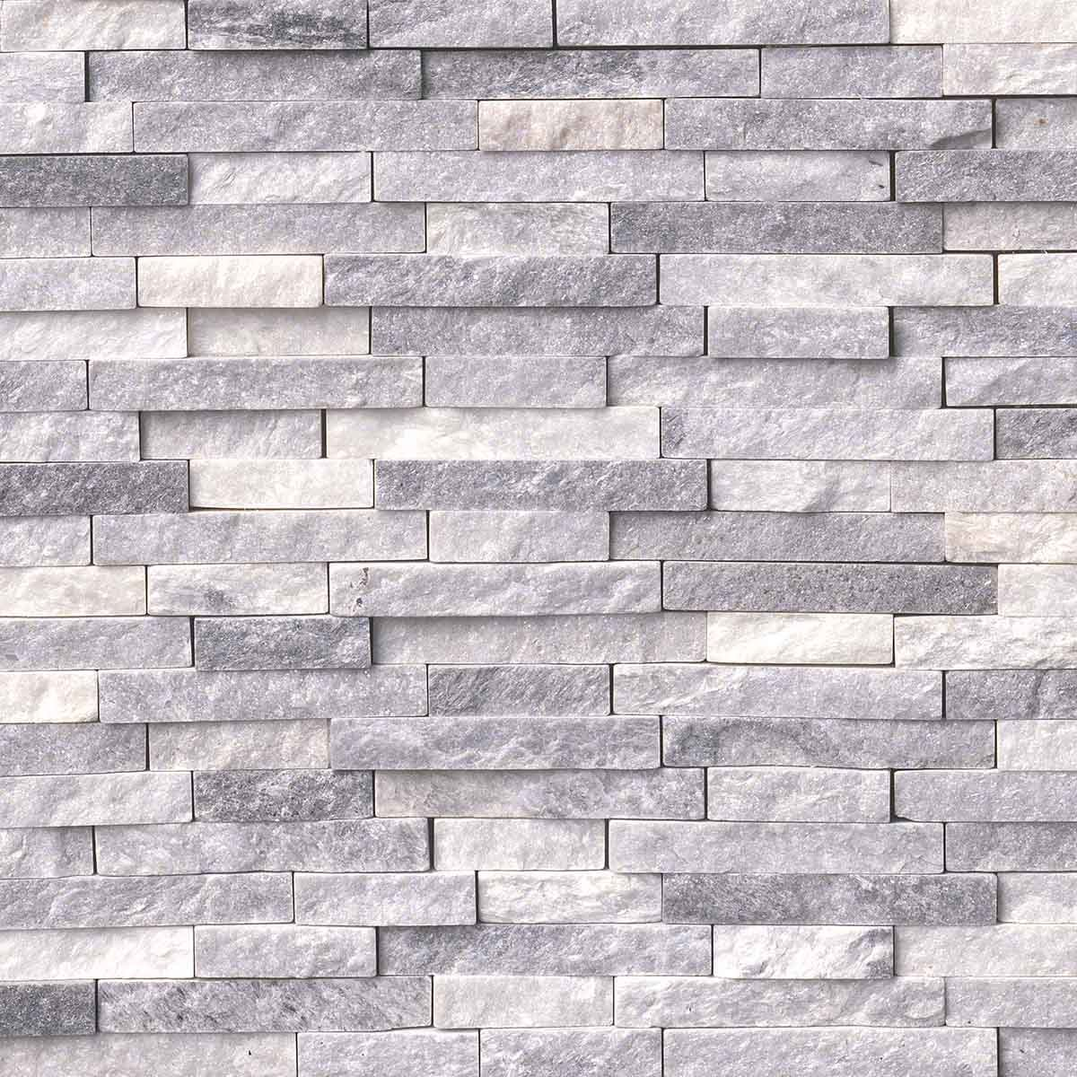 Alaskan Gray Splitface Interlocking Pattern Marble Mosaic Tile