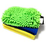 SOBBY Microfiber Cleaning Cloths and Glove Combo - 40 cm x 60 cm, 40cm x 40 cm Cloth and Chenille mitt Glove - Multicolor