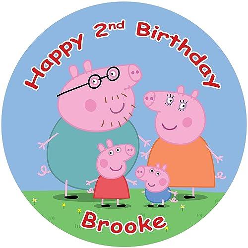 "Peppa pig 7.5"" Round personalised birthday cake topper ..."