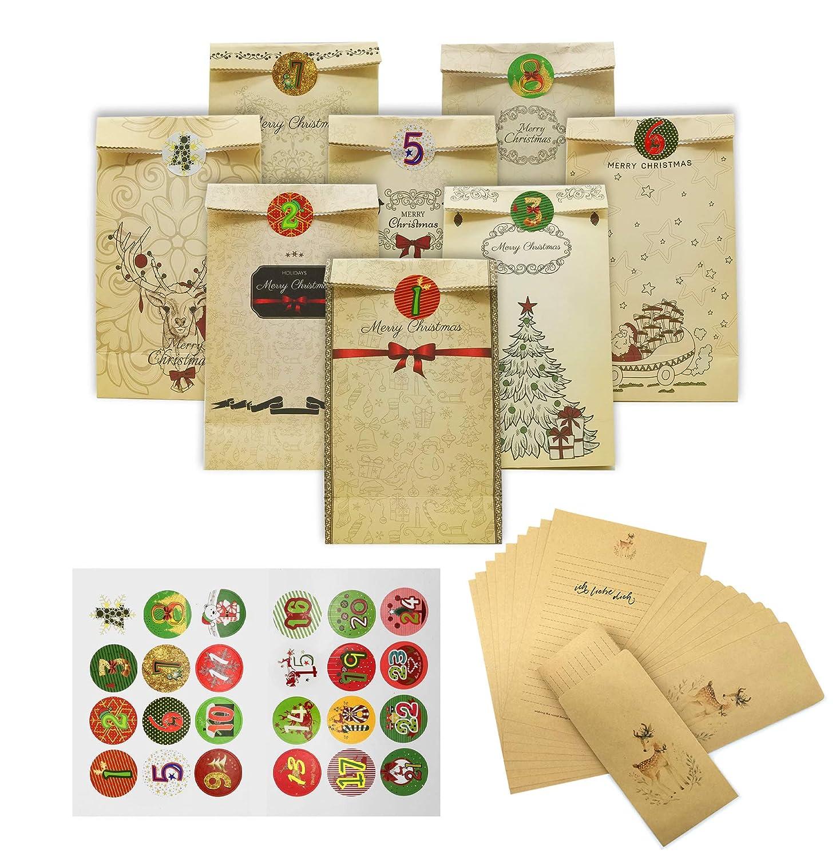 iZoeL Calendrier de l'Avent 24 pochettes sacs surprise Noë l Sachets de confiserie + 1 - 24 chiffres