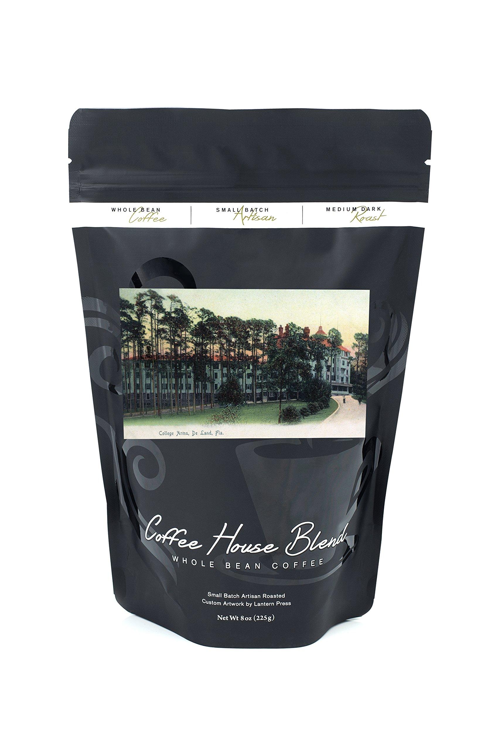 Deland, Florida - College Arms Exterior View (8oz Whole Bean Small Batch Artisan Coffee - Bold & Strong Medium Dark Roast w/Artwork) by Lantern Press (Image #1)