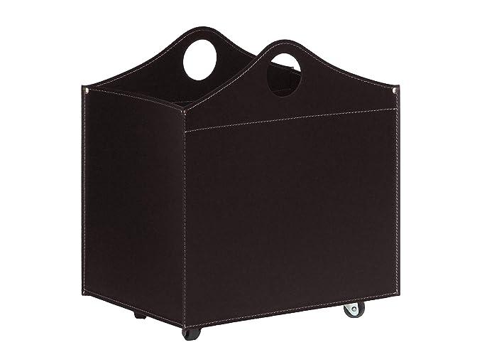BOCAD: Set para chimenea y estufas en cuero de color Marrón Oscuro compuesto por Porta Leña, Juego para la chimenea, Utensilios para chimenea, ...