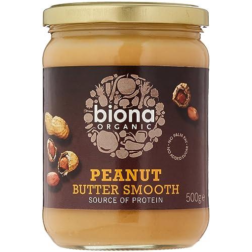 BIONA Organic Peanut Butter Smooth No Salt 500g (PACK OF 1)