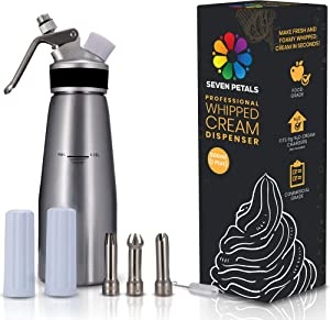 Seven Petals Professional Whipped Cream Dispenser – 1 Pint Aluminum Cream Whipper Canister - Whipping Siphon - Whip Cream Maker with 3 Stainless Steel Tips, 2 Charger Holders, Brush & Storage Cap