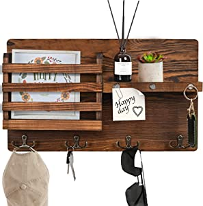 Z&L House Wall Mounted Mail Holder Wooden Mail Sorter Organizer,with 4 Double Key Hooks,3 Strong Magnets for You to Hang at Will,Rustic Hanging Decor for Office, Entryroom,Mudroom, 100% Pine Wood