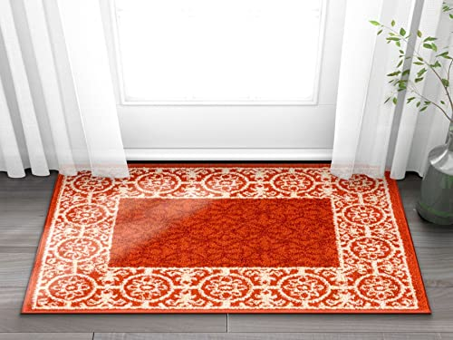 Well Woven Casa Tuscany Rust Orange Ivory Modern Classic Mediterranean Tile Border Floral 2 x 3 Area Rug Soft Shed Free Easy to Clean Stain Resistant