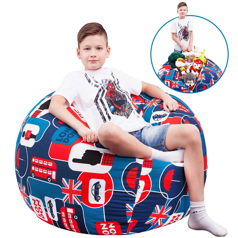 5 STARS UNITED Stuffed Animal Storage Bean Bag - Kids and Teens Chair Сover – London Icon - Extra-Large Toy Organizer - Stuff, Zip, Sit Pouf, Trendy Teenage Boy Bedroom Idea (38'')