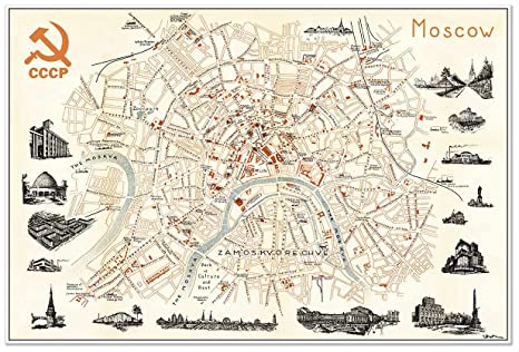 Amazon.com: Antiguos Maps - Map of Moscow Russia in 1960 ...