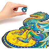 Unidragon Wooden Jigsaw Puzzles – Unique Shape Jigsaw Pieces Best Gift for Adults and Kids Guarding Dragon 8.3 х 13 in…