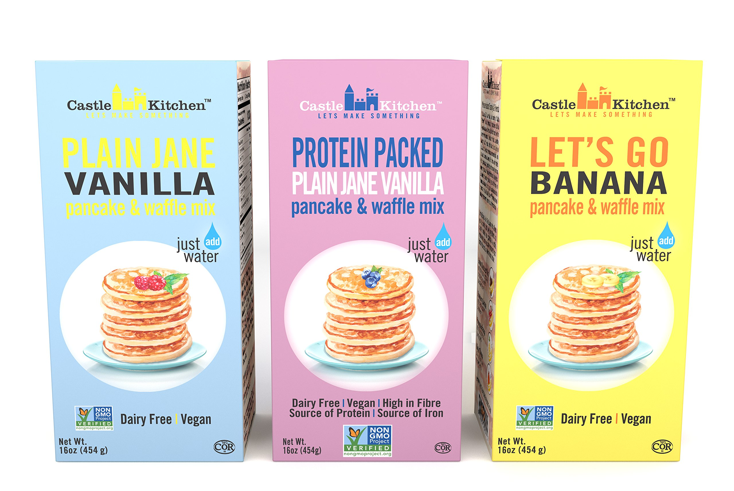 Plant-Based Pancake and Waffle Mix Variety Pack - Dairy-Free, Vegan Complete Mixes, Just Add Water - Pack of 3 Boxes (1 of Each - Protein-Packed Vanilla, Plain Jane Vanilla, Banana) 16 oz Each
