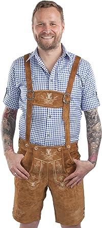 Schöneberger Men's Bavarian Lederhosen Brown Oktoberfest Leather Trousers