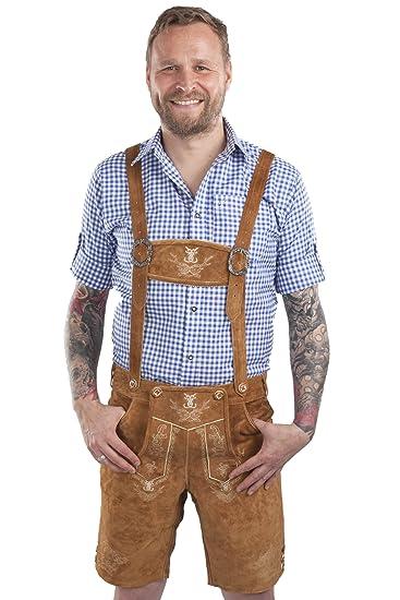 Men s traditional German Lederhosen - Bavarian leather trousers Oktoberfest  pants (46 ede8fd7f2