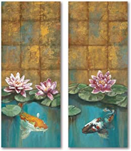Golden Koi I Peaceful Koi Swimming Under Pink Lily Pads; One 8X20 Poster Print