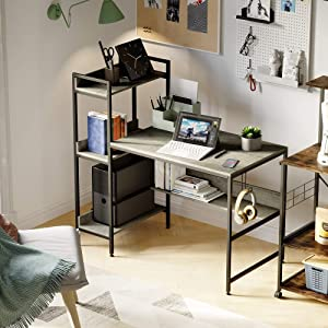 Bestier Computer Desk with Storage Shelves 47 Inch, Headphone Hook Reversible Bookshelf (Gray with Hook, 47 Inch)