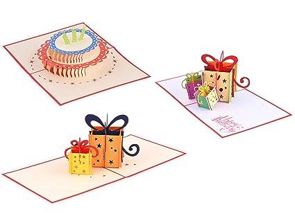 (Juego de 3) Tarjeta PopUp 3D bonita hecha a mano para el cumpleaños 01 (en la colección de tarjetas de amor, tarjeta de agradecimiento, tarjeta de ...