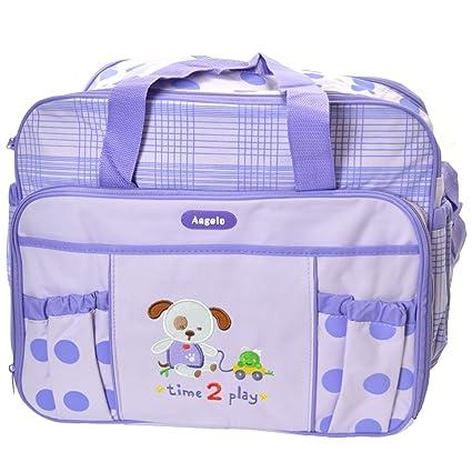 Angelo® Botella de bebé bolso cambiador pañal pañales para viajes hombro mochila – morado